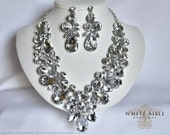 Crystal Wedding Jewelry Set, Vintage Inspired Necklace, Rhinestone Necklace, Crystal Bridal Necklace, Bridal Jewelry Set, Statement Necklace