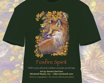 Red Fox and Autumn leaves tee