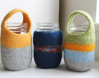 Made to Order Hand Felted Hand Knit Wool 16, 24 oz or 32 Oz  Mason Jar Cozy, Your Choice of Size and Color(s)