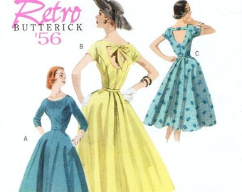 Sz 8/10/12/14 - Misses' Mid-Calf Dress with Open Back in 3 Options - Butterick Retro 1956 Reissued Pattern - Butterick Sewing Pattern B5605