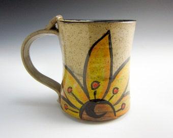 Ceramic Coffee Mug - Ceramic Cup - Yellow Sunflower -  Stoneware Coffee Mug - Pottery Mug - 14 ounce Mug - Medium Coffee Mug - Rustic
