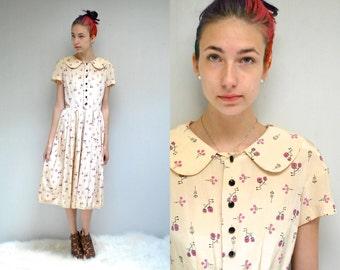 Peter Pan Collar Dress  //  50s Rayon Dress  //  THE BICYCLE