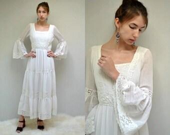 70s Boho Wedding Dress //  Bell Sleeve Dress //  Gauze Wedding Dress  //  VICTOR COSTA