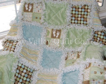 prefringed cut rag quilt KIT  Oh Baby in blue green and brown