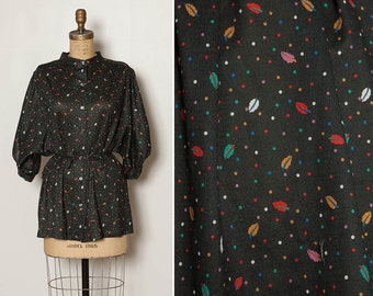 vintage 70s fall leaves tunic blouse