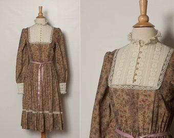 vintage 70s wild flower dress