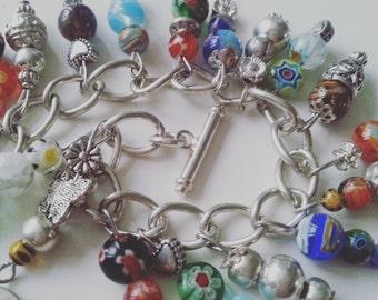 Millefiori, millefiore, bracelet, charm bracelet, Summer, mix colour, hippie, bohemian, toggle, clasp, by NewellsJewels one etsy