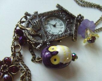 Cuckoo Clock, Vintage style, bronze, owl, purple, key, whimsical, pocket watch, bird,bird house, by NewellsJewels on etsy