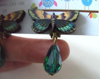 Butterfly, CLIP ON, earrings, wood, dangle, tear drop, faceted glass, green, black, pink, teal, by NewellsJewels on etsy