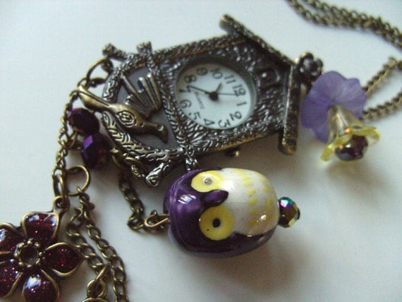 Cuckoo Clock Vintage Style Bronze Owl Purple Key