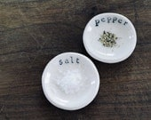 Tiny Salt and Pepper Dishes, Porcelain Dish Set, Mrs Peterson Pottery