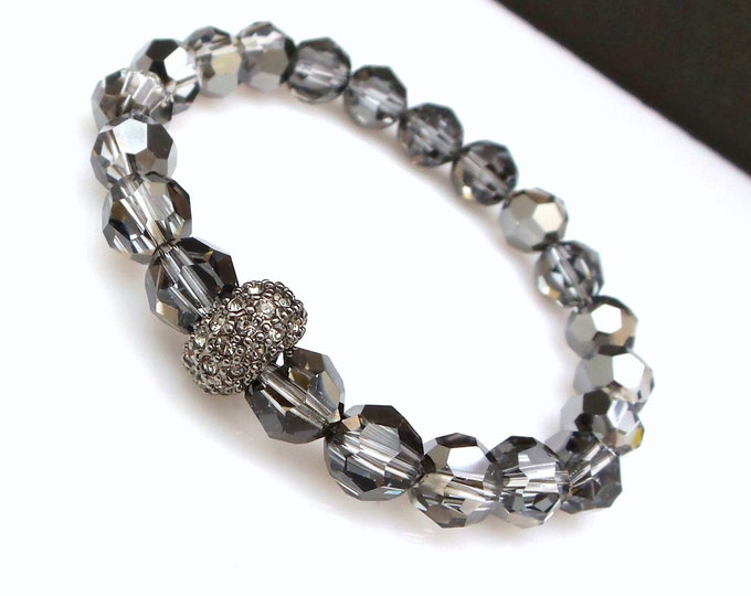 8mm Swarovski silver night round crystal bead with gun metal rondelle with hematite pave stones stretch bracelet bridesmaid gift wedding