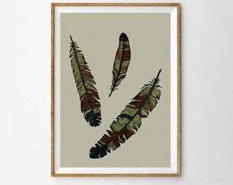 Feather Print, Scandinavian Art,Tribal Feathers Print , Earth Colors , Large Wall Art, Oversized Art, Trending Items, Trending Now