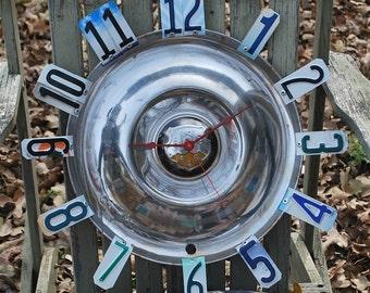 Antique Oldsmobile  Hubcap Clock, 1950 Oldsmobile, License Plate Clock,Man Cave, Classic cars, Garage clock, Handmade Clock,Gift for Him
