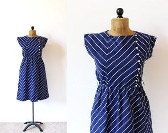vintage dress 70's navy blue white striped nautical retro 1970's women's clothing size medium m
