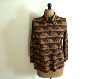 SALE vintage shirt blouse 1970s triangle print orange novelty disco clothing size m l medium m large l
