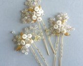 Baby's Breath Bridal Hair Pins White Flower Pins