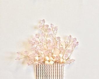 Rose Crystal hair comb Bridal Hair comb ,Pink hair Comb , Spring Wedding ,Party, Rose quartz