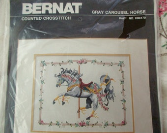 Vintage Carousel Horse counted crosstitch kit -new in package, Bernat, HO4170