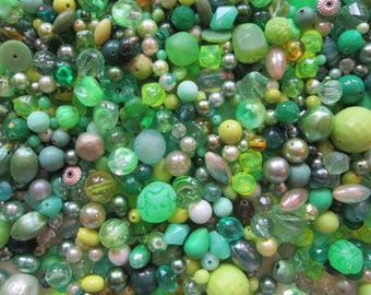vintage bead mix - GREEN - 4 cups, vintage beads - green mix 2