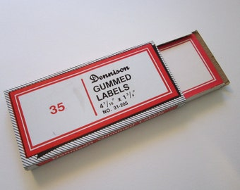 vintage DENNISON labels - self gummed - red and white - 4-1/16 x 1-3/4 inches - 35 labels - No 31-205