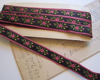 3.25 yards vintage woven ribbon - black and pink floral - 1/2 inch wide
