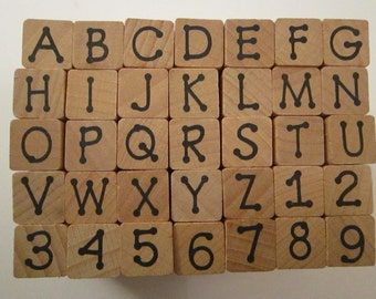 rubber stamps - alphabet and number stamps - DOT alphabet peg stamps - gently used