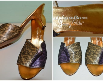 Incredible Designer Late 1950's Vintage Cream & Purple Lace Satin Metallic Gold Saks Fifth Ave cha cha mules kitten heels Rockabilly Pinup 7