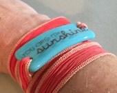 You are my sunshine, Personalized Bracelet fused glass wrap bracelet on hand dyed silk ribbon