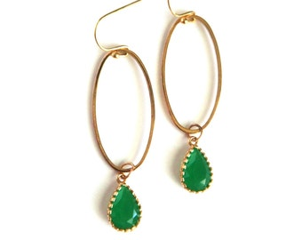 Green Teardrop Earrings, Green Framed Earrings, Gold Oval Hoop Earrings, Green Gemstone Earrings, Framed Stone Earrings
