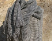 Powder blue and chocolate brown plaid linen scarf, Plaid linen scarf, Handwoven linen scarf, Checked linen scarf, limited edition scarf,