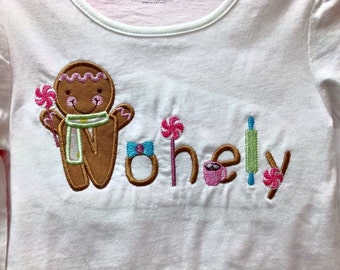Gingerbread Girl/Boy Name Shirt