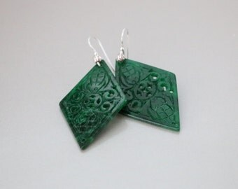 Unique Chinese Pattern Green Jade Carved Diamond Gold Filled Earrings, Jade Earrings, Green Jade Earrings, Jade Jewelry