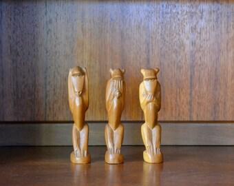 vintage wood hear no evil see no evil speak no evil monkeys