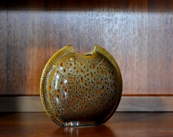 vintage modern brown ceramic fish vase
