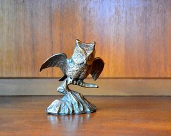 vintage cast metal owl figurine