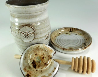 Ceramic honey dipper pot, pottery honey jar, stoneware honey jar with saucer, dipper stick, pottery honeypot, ceramic honey pot white glaze