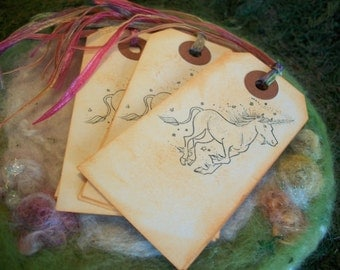 Unicorn Gift Tags, Set of 10 Unicorn Flower Fairy Princess Party Favor Gift Tags Bookmark Thank You Favor Bag