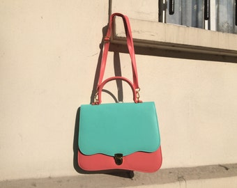 SHOP SALE! Vintage French Purse Colorblock Scallop Pink & Mint Green Pastel Spring Handbag