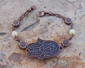 Hamsa bracelet, Hippie Bohemian jewelry,  Copper beaded bracelet, yoga jewelry, olive jade gemstone