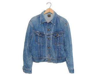 Vintage Lee Jean Jacket 101-J Sanforized Denim Union Made in USA - 42 Regular (OS-DJ-14)