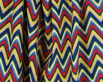 REMNANT Sand Art Majestic Waverly Blue Green RedChevron Fabric 54 Inches x 2.5 Yards