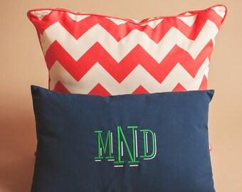 Monogrammed Navy Indoor Outdoor Pillow