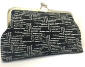 clutch purse - suburbs - 8 inch metal frame clutch purse - large purse- melbourne-tram-tickets -black- kisslock