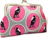 clutch purse - maggie in pink  - 6 inch metal frame clutch purse - medium purse- magpie - pink - clutch- purse - kiss lock clutch