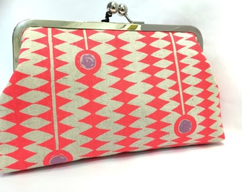clutch purse - diamonds and gems - 8 inch metal frame clutch purse - large purse-bright -  hot pink - natural linen - clutch- kisslock
