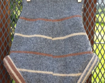 Upcycled Wool Diaper Cover, Soaker, medium, gray, tan and brown