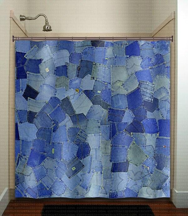 Blue Pockets Denim Jeans Shower Curtain Bathroom Decor Fabric