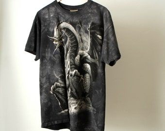 game of thrones DRAGON tie dye D & D style men's large goth 90s vintage t-shirt