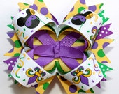 "Ready to Ship...4"" Mardi Gras Disney Mickey Minnie Mouse Stacked Hair Bow Purple Green Yellow"